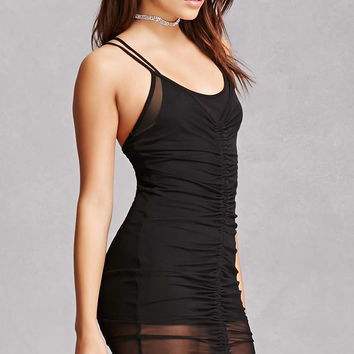 Sheer Mesh Ruched Cami Dress
