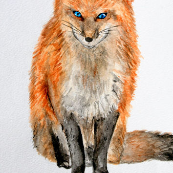 SALE Fox with blue eyes, PRINT, fox watercolor, fox art, nursery art, boys and girls art, PRINT, archival art print 5x7