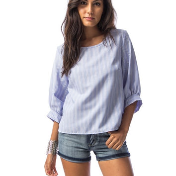 Lilac Striped Puffer Sleeve Blouse
