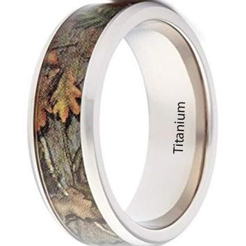 CERTIFIED 8mm Wedding Rings by Camo Engagement Rings - Bevel Titanium