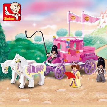 Sluban 0250 Building Friends Series Blocks for Girls Toy Royal Princess Carriage Wagon Compatible with Lego