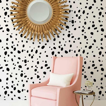 Dalmatian Spots Allover Stencil - Better than Wallpaper - Easy to Use! - Great for a Quick Room Renovation