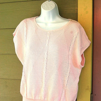 Vintage 80s Pastel Baby Pink Cap Sleeve Boxy Baggy Cable Knit Sweater Size SML