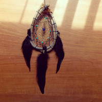 Rustic Dream Catcher with Turquoise Colored Beads // Hippie Boho Dorm Room Decor