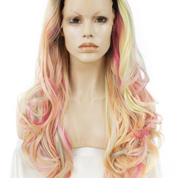 Long Dark Root To Pastel Multicolor Pink Blonde Mixed Wave Synthetic Lace Front Wig