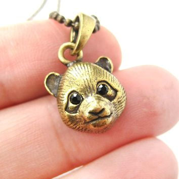 Panda Teddy Bear Animal Charm Necklace in Brass | Animal Jewelry
