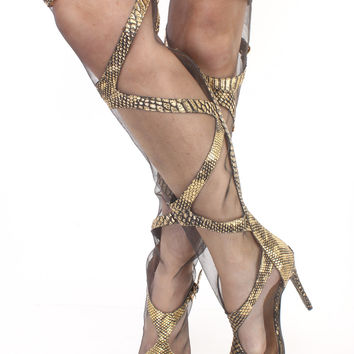 Gold Mesh Snake Skin Thigh High Heel Boots Faux Leather
