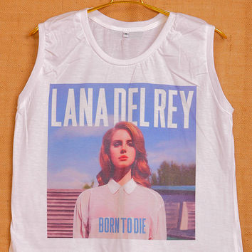 FASHION VEST,LADIES SUMMER TANK TOP,ONE SIZE FACE LANA DEL REY new