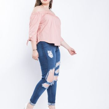 Plus Size Springtime Off The Shoulder Top