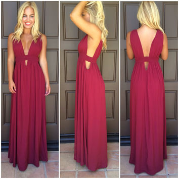 Kenya Cutout Maxi Dress - BURGUNDY