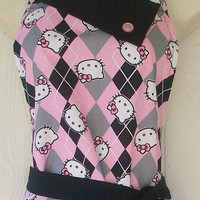 Hello Kitty Retro Style Full Apron for Women / Pink & Black Argyle