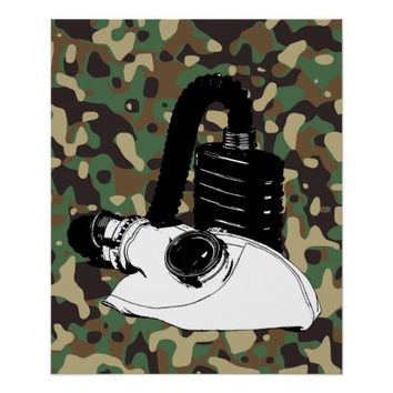 Military War Gas Mask Camouflage Art Poster