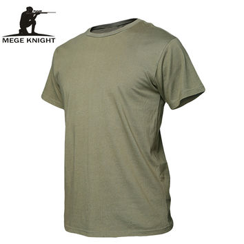 MEGE Summer Cotton T-shirt, Men Military Dry Camo Camp Tees, Camouflage Breathable