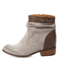 Qupid Distressed Slouchy Ankle Boots by Charlotte Russe - Gray