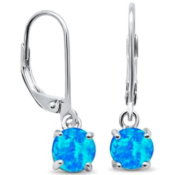 .925 Sterling Silver Blue Opal Brilliant Round Cut Drop Dangle Stud Ladies Earrings with Lever Back