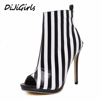 DijiGirls New women pumps fashion stripe high heels shoes woman party wedding stilettos peep toe summer boots shoes size 35-40