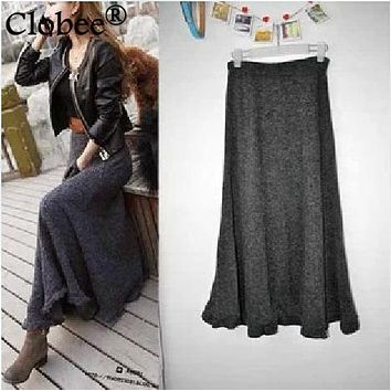 2014 New Fall Winter Women Grey Black Red Green A-line Woolen Knitting Floor-length Long Skirt Ladies Ruffle Casual Wool Skirts