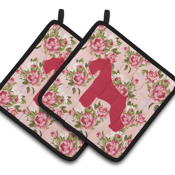 Schnauzer Shabby Chic Pink Roses  Pair of Pot Holders BB1073-RS-PK-PTHD