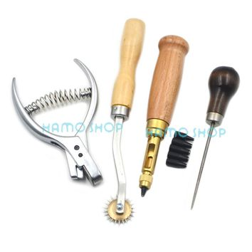 Leather Craft 4pcs Sewing Tools Awl Overstitch Wheel Punch Drill Set Hole Needle DIY