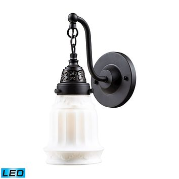 Quinton Parlor 1-Light Wall Lamp in Oiled Bronze with White Glass - Includes LED Bulb