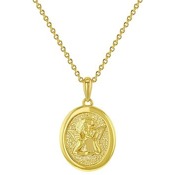"""18k Yellow Gold Plated Guardian Angel Religious Medal Pendant Necklace Kids 18"""""""