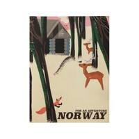 Vintage Norwegian vacation travel poster. Wood Poster