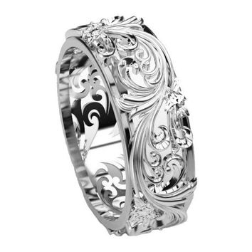 Silver Flower Filigree Ring Band Leaves Ring Twig Ring Milgrain Ring Wedding Ring Band in Silver