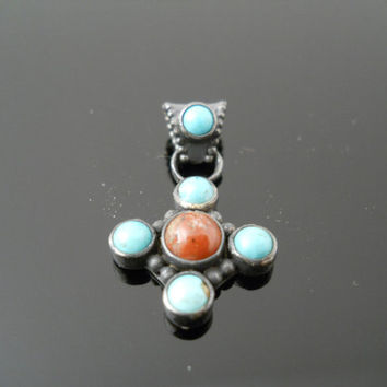 Turquoise Coral Pendant, Sterling Cross, Turquoise Cross, Coral Cross, Native American, Silver Pendant, 925 Cross Pendant, Turquoise Pendant