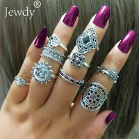 9PCS/Lot Sun & Moon Clover Finger Ring Set for Women Punk Vintage Tibetan Fatima Hand Knuckle Rings Party Jewelry Accessories