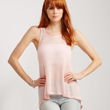 Sheer Lace Accent Hi-Lo Tank