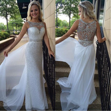 2016 Sequins Sheath Prom Dresses Crystals Beaded with Overskirts White Gorgeous Evening Gowns