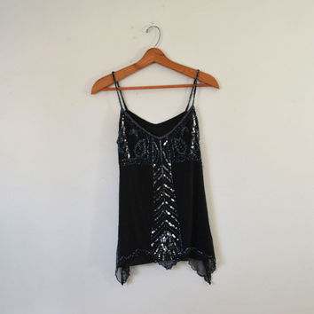 Vintage Black Sequin Top Black Beaded Top 80s Cocktail Blouse Black Sequin Shirt Beaded Sequin Black Tank Top Size Small