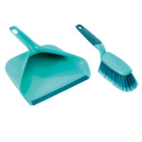 Leifheit Broom and Dustpan Set, Turquoise