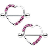 "14 Gauge 3/4"" Pink Gem Ring Round My Heart Nipple Shield Set"
