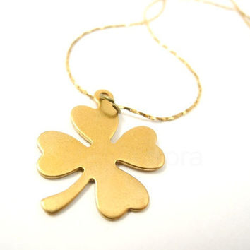 Brass Four Leaf Shamrock Clover on Vintage Brass Snake Chain Necklace Irish Luck Free Shipping