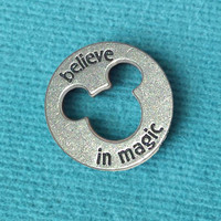 """Disney Pewter """"Believe in Magic"""" Token Coin - """"Pieces of Magic"""" with Mickey Head Cutout"""