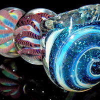 Triple Ball Glass Smoking Pipe - 158 Gram Heavy Inside Out Pink Red Color Changing Spoon Bowl - Amazing Dichroic Swirl
