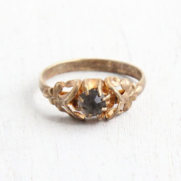 Vintage Czech Smoky Gray Stone Brass Ring - Antique Art Deco 1930s Rhinestone Hallmarked Made in Czechoslovakia Size 7 Costume Jewelry