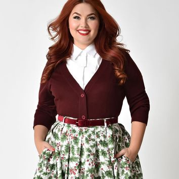 Plus Size Burgundy Red Three-Quarter Sleeve Button Up Crop Cardigan