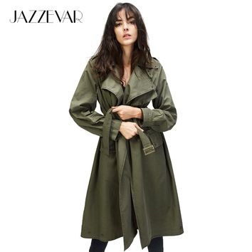 JAZZEVAR 2017 Autumn New Fashion Women's Casual trench coat Cotton Vintage Washed Military Outwear Loose Clothing with belt