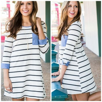 A Penny For Your Thoughts Ivory Striped Denim Pocket Dress