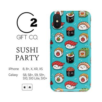 Kawaii Sushi Party Phone Case For Iphone X, Xr, Xs, Xs Max, 8, 8+ & Galaxy S10, S10+, S10 Lite, S9, S9+, S8, S8+