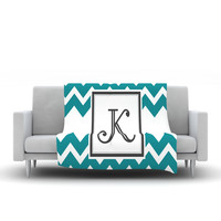 "KESS Original ""Monogram Chevron Teal"" Fleece Throw Blanket"