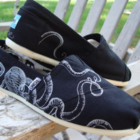 Octopus- hand drawn on TOMS shoes-made to order