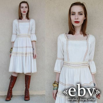 Vintage Hippie Dress Vintage 70s Cream Lace Hippie Boho Wedding Dress XS S Bell Sleeve Dress