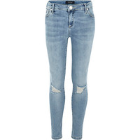 River Island Girls light wash ripped jeans