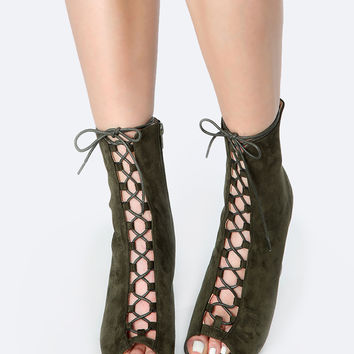 Lace Up Chunky Heel Ankle Boots OLIVE | MakeMeChic.COM