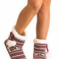 Raegan Fairisle Faux Fur Trim Christmas Slipper Boot in Red
