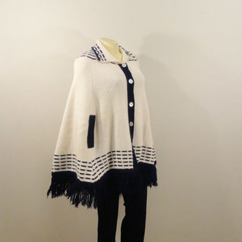 Vintage Cape Sweater 60s 70s Mad Men Originals By Jolie Knit Fringe Poncho Navy Blue & Ivory OOAK One Size Fits Most