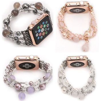 Women Agate Stretch Bracelet Replacement for iWatch Strap Watch Band 42mm 38mm